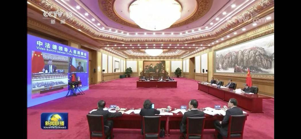 大陸國家主席習近平今日與法國總統馬克宏、德國總理梅克爾舉行「中法德領導人視頻峰會...