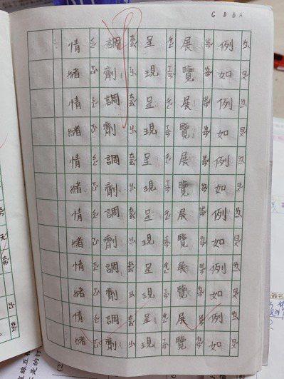 一名媽媽抱怨兒子生字作業寫很工整卻只拿甲,引起網友熱議。 圖/爆怨2公社