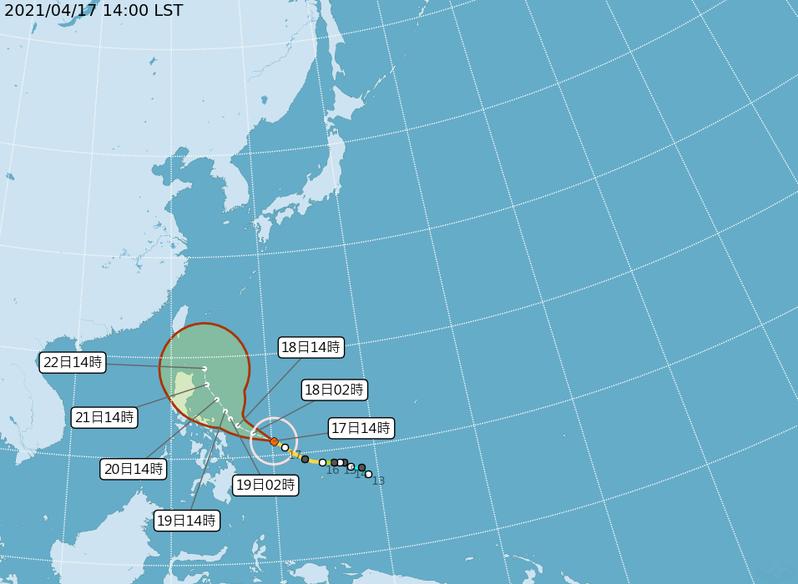 強烈颱風舒力基路徑潛勢預報。 圖/取自氣象局網站