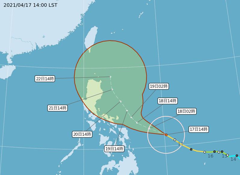 中央氣象局觀測,颱風舒力基今天下午增強為強烈颱風,預估直接影響台灣機率偏低。圖擷自中央氣象局