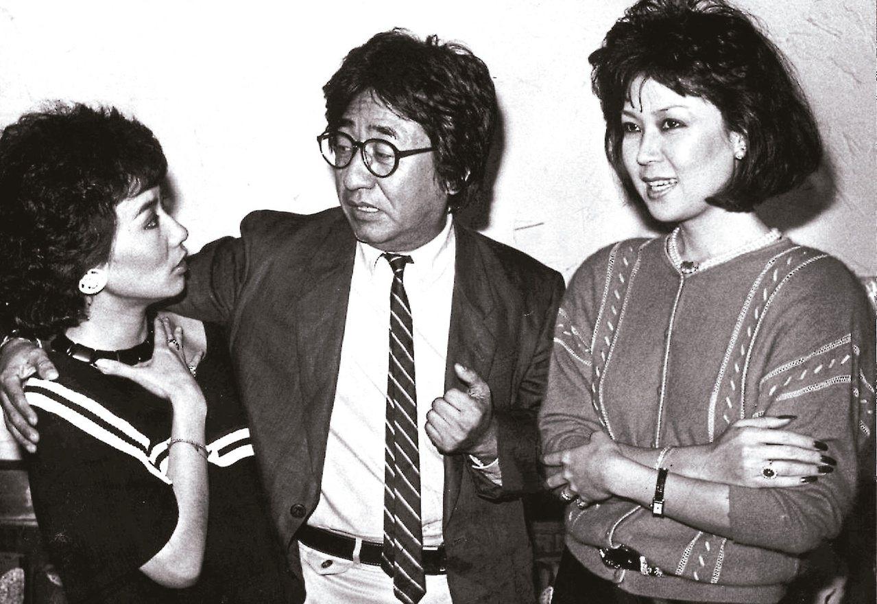 白嘉莉(右起)當年主持「銀河璇宮」,孫越、張小燕是短劇拍檔。本報資料照片