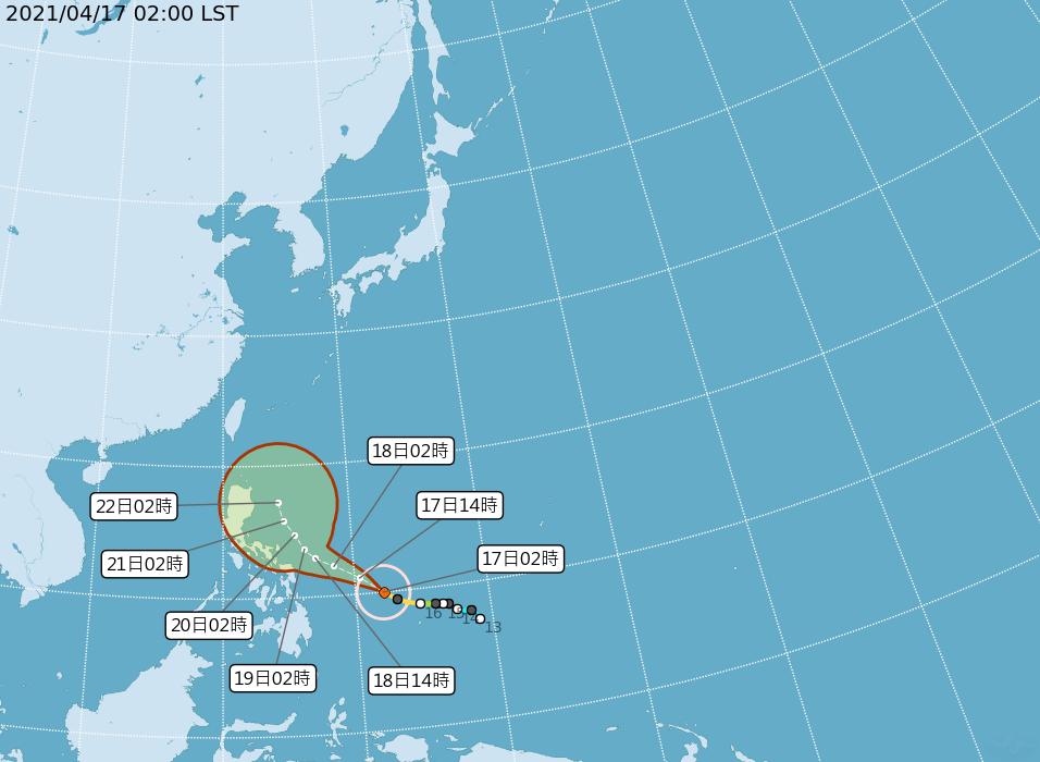 中央氣象局路徑潛勢預測圖。圖/取自氣象局網站