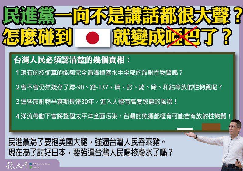 前立委孫大千今在臉書質疑,民進黨不是一向講話都很大聲,為什麼碰到日本就變啞巴。圖/取自孫大千臉書