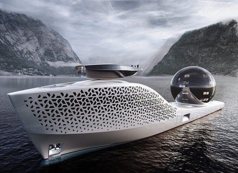 歐美多間企業聯手打造的「Earth 300」核動力科學探索船項目近日正式啟動,船上更配有人工智慧系統和多個先進船舶實驗室等,預計2025年下水投入海洋狀況的考察工作。圖/Iddes Yachts