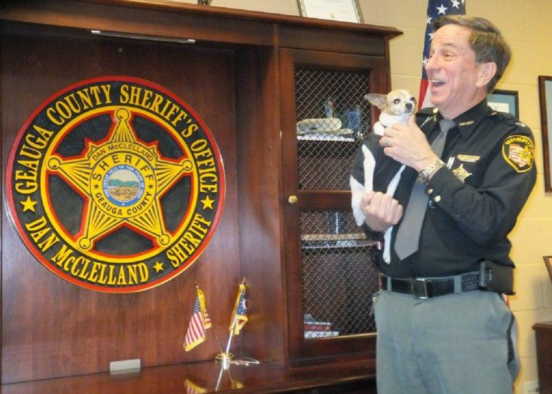 美國俄亥俄州吉奧格郡前警長麥克利蘭與前警犬米吉2016年底一起退休前影像。麥克利蘭的家屬已決定,讓這一對好搭檔一起入土為安。畫面翻攝:Geaugamapleleaf.com