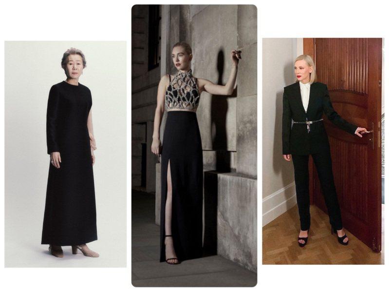 尹汝貞、凡妮莎寇比、凱特布蘭琪都以黑色系的晚裝或西服出席活動。圖/DIOR、GIVENCHY提供