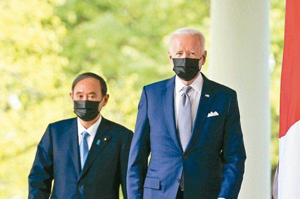 美國總統拜登(右)與日本首相菅義偉會談,會後發布聯合聲明,重申台海和平穩定重要性...
