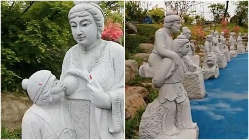 大陸浙江湖州營盤山景區一座「媳婦給婆婆餵母乳」的雕像近日引起熱議。圖擷自微博