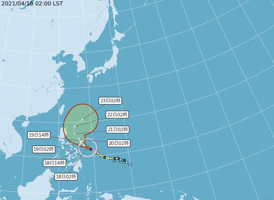 中央氣象局路徑潛勢預測圖顯示,強颱舒力基前3天受太平洋高壓西南側的東南東風導引,...