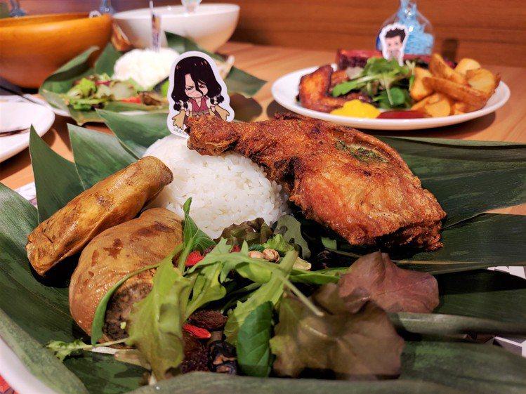 店內提供有5款具有主角特色的主餐。圖/FANFANS CAFÉ提供