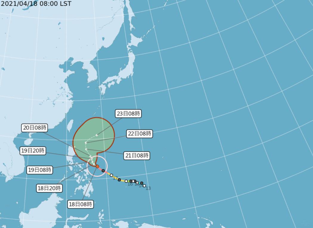 強颱舒力基今天上午8時位在鵝鑾鼻東南方1230公里海面上,以每小時10公里速度向...