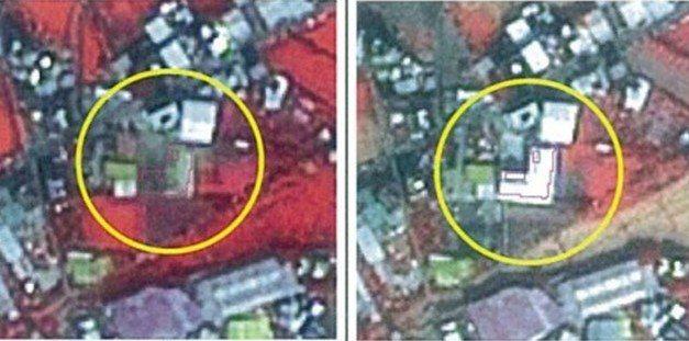 內政部提供給台南的農地衛星變異點照片,左為前、右為兩個月後,可以明顯看出增加了違規建物。圖/台南市地政局提供