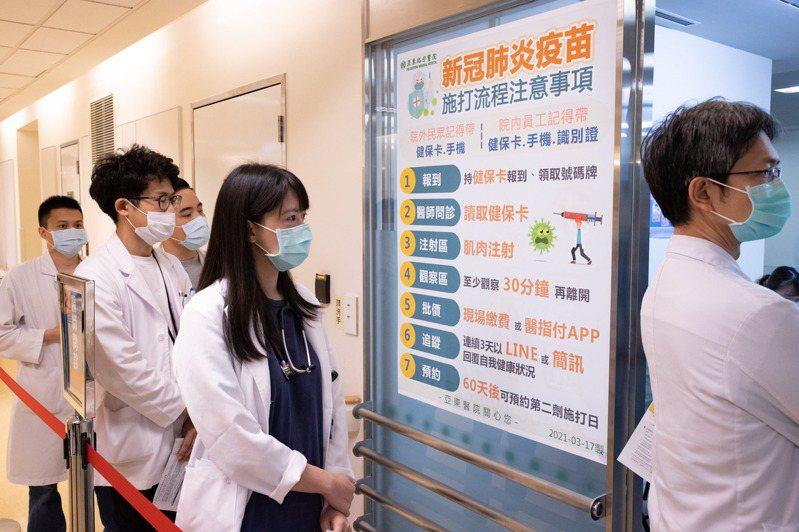 新冠肺炎疫苗將自今天開放有出國需求等民眾預約,有關相關費用,中央流行疫情指揮中心發言人莊人祥表示,31家開放已有15家醫療院所已在疾管署網頁更新相關資訊,皆已列出費用;圖為日前亞東醫院醫護人員,等候排隊等待施打AZ疫苗的狀況。報系資料照