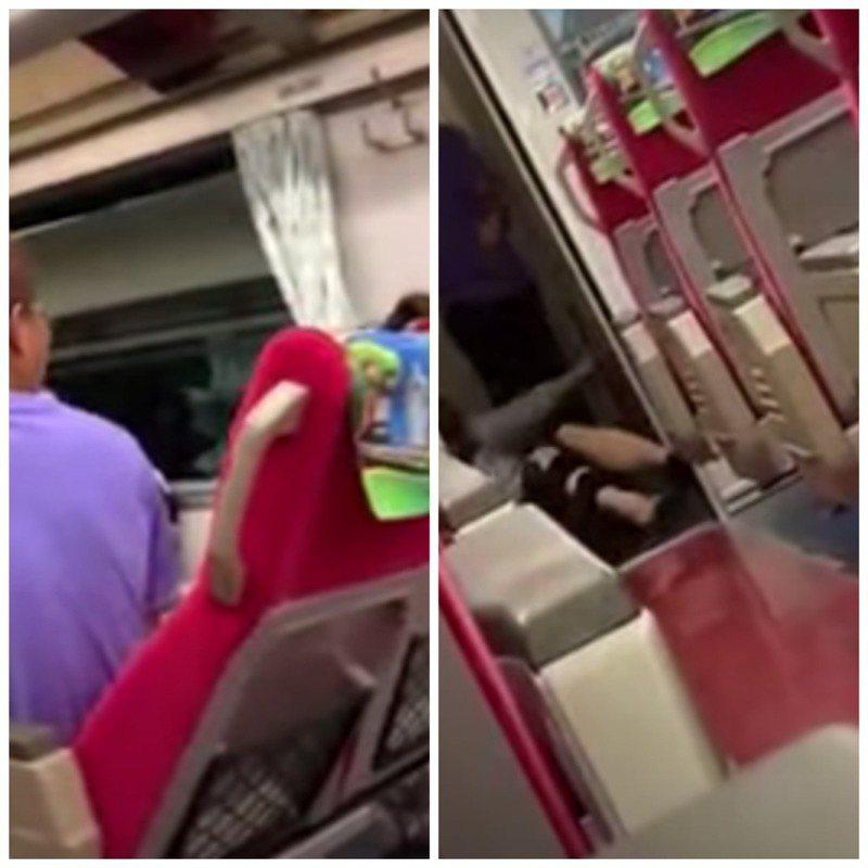 網友搭火車直擊男子拖行並暴打女子。圖/取自爆料公社