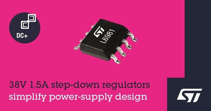 意法半導體高整合度1.5A同步穩壓器,簡化高效能電源轉換設計。 意法半導體/...