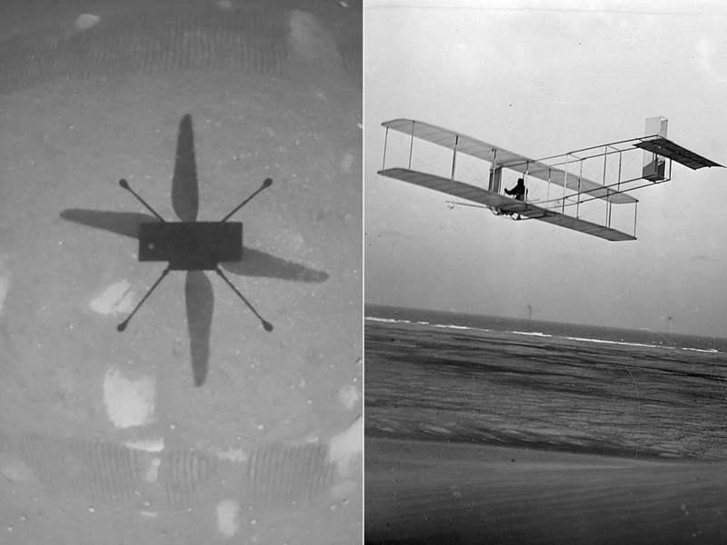 無人直升機「創新號」今天完成火星首飛,NASA表示,這是萊特兄弟後人類又一壯舉。 法新社