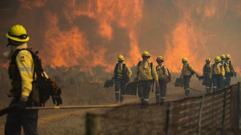 南非首都開普敦知名景點「桌山」18日發生森林大火。路透