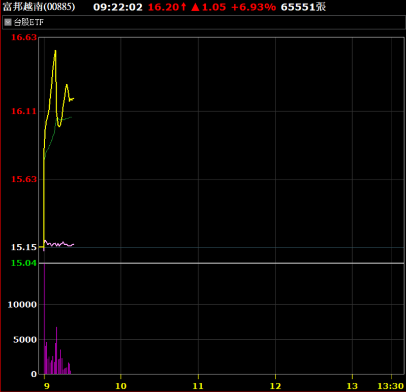 富邦越南ETF上市爆量漲。券商軟體