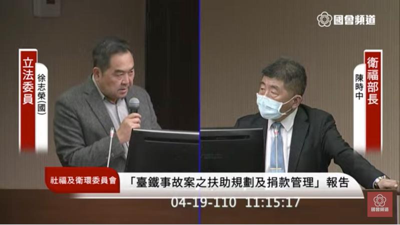 國民黨立委徐志榮關切新冠疫苗施打進度。圖/擷取自立法院議事轉播