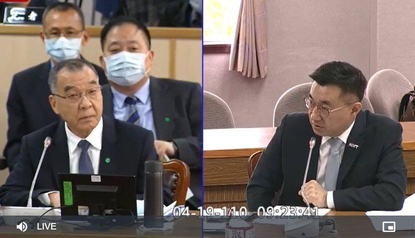 國民黨立委江啟臣(左)詢問表示,美方批評過我國的後備動員,陶德代表團有提及此事嗎...