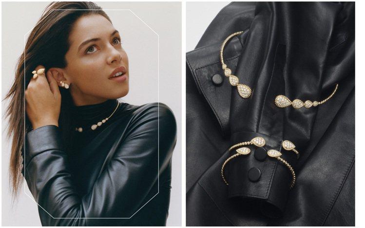 Serpent Bohème珠寶以白金或黃金鑲鑽疊加以黃金圓珠鑲飾,當搭配深色衣...