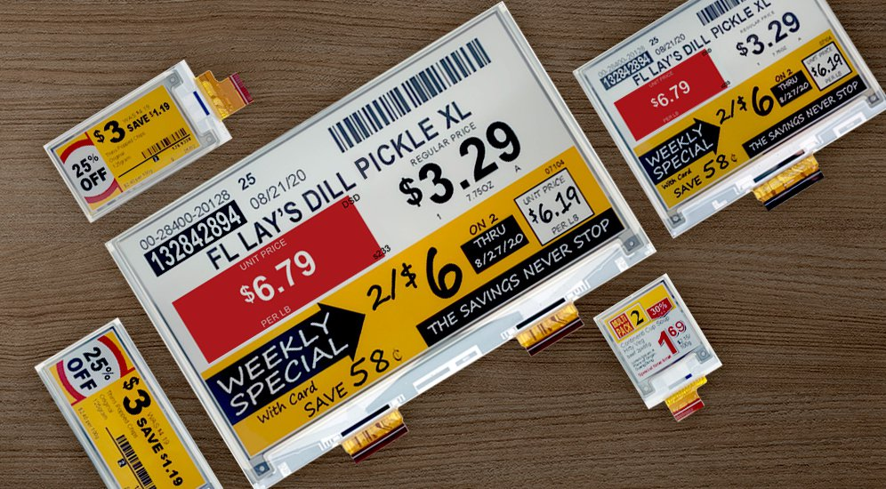 E Ink Spectra™ 3100四色電子紙可顯示黑、白、紅與黃的暖色系、高...