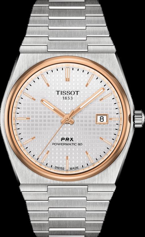 天梭表PRX 40 205系列自動上鍊腕表,精鋼表殼、表鍊搭配鍍玫瑰金表圈,以及...
