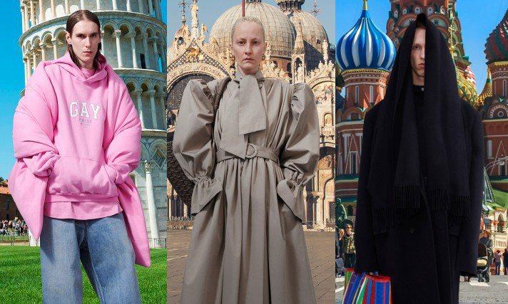 Balenciaga昨日推出了自家2021冬季系列新裝,模特兒被後製在比薩斜塔、巴黎凱旋門、米蘭大教堂、俄羅斯紅場等熟悉的景點前面,呈現出疫情時代令人懷念的「觀光客樂趣」。圖/Balenciaga提供
