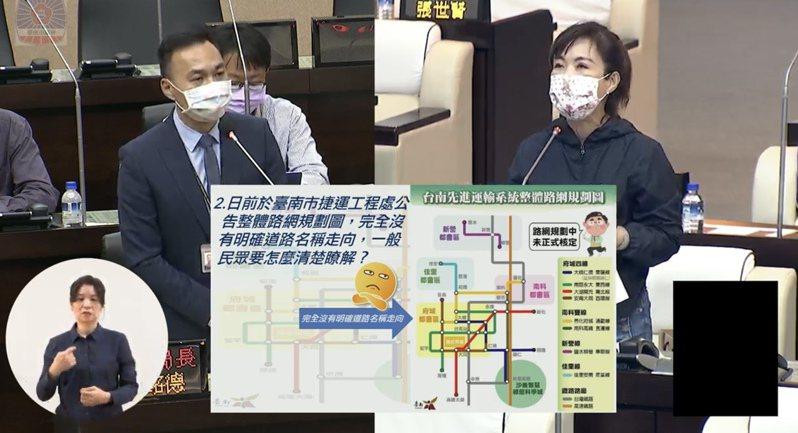 台南市交通局長王銘德(左)昨天前往議會進行先進運輸系統專案報告,右為國民黨籍議員林美燕。記者修瑞瑩/翻攝