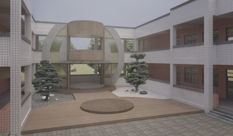 和美和仁國小結合學生武術社團,以太極為主題改造廊道,設計多功能的校園展演空間。圖/彰縣府提供