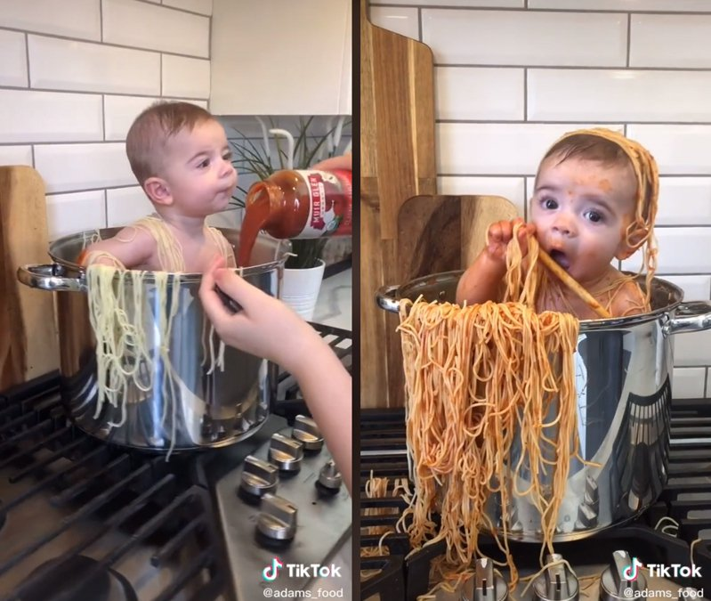 一位媽媽拍攝兒子在大鍋中與義大利麵互動的影片上傳網路,遭網友批評浪費食物。圖擷自TikTok</a