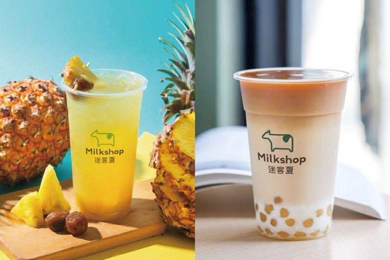 左圖為鳳梨新品,右圖為珍珠紅茶拿鐵示意圖。圖/迷客夏提供