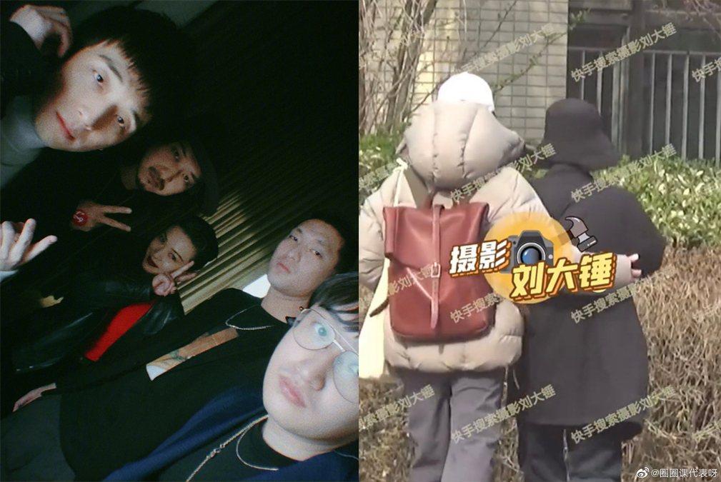 郭采潔(左圖中)被爆與大陸音樂人尹德爾(左圖一)戀愛ing。圖/擷自微博