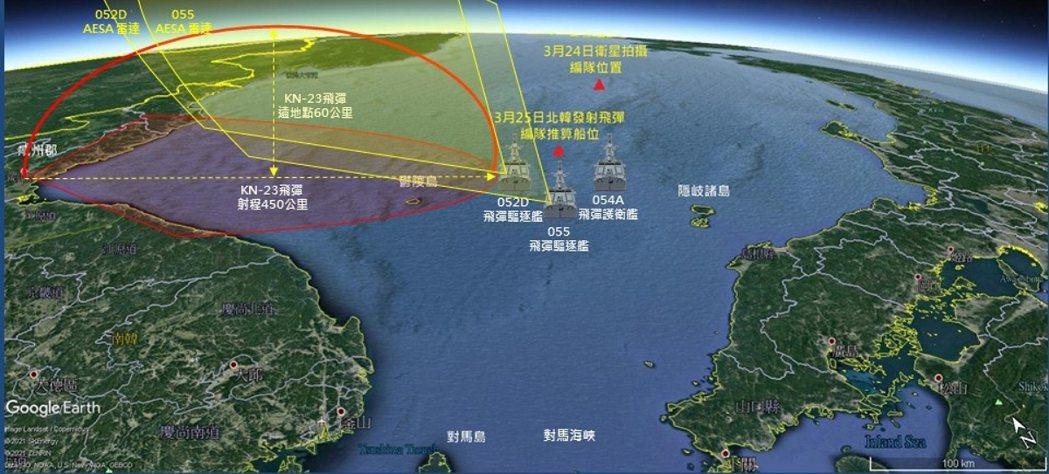 本次推論中國、北韓反彈道飛彈軍演編隊示意圖。 圖/作者提供