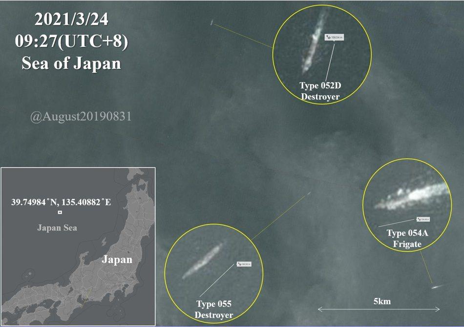 擅長以衛星照片追蹤解放軍海軍動態的帳號August20190831,於3月24日分析的衛星照片。 圖/取自TwitterAugust20190831