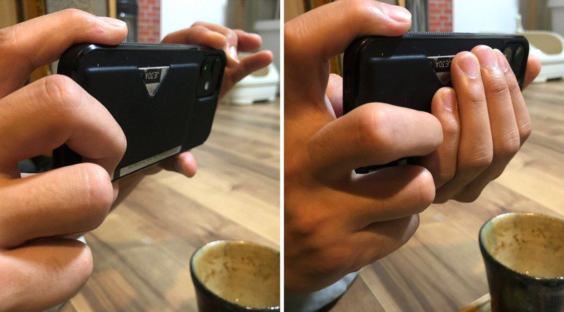 推特主發文指出,有使用過相機的人多半會使用左邊的方式拿手機(如左圖),而比較少接觸相機或比較年輕者,則會使用右邊的方式拿手機(如右圖)。圖/取自Twitter@pddk
