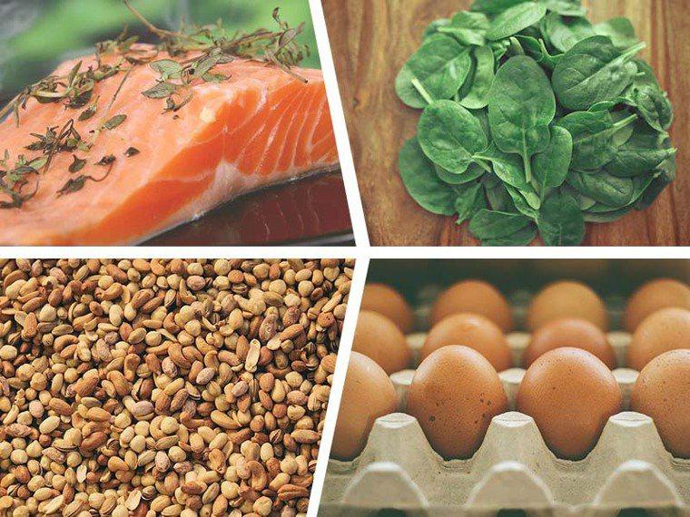 鮭魚、菠菜、堅果、蛋等食物都含有許多蛋白質。圖片提供/愛長照(來源:pixaba...