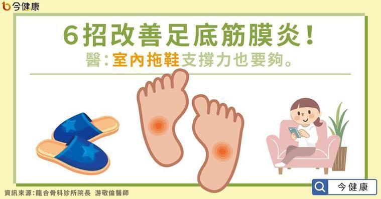 6招改善足底筋膜炎!醫:室內拖鞋支撐力也要夠。
