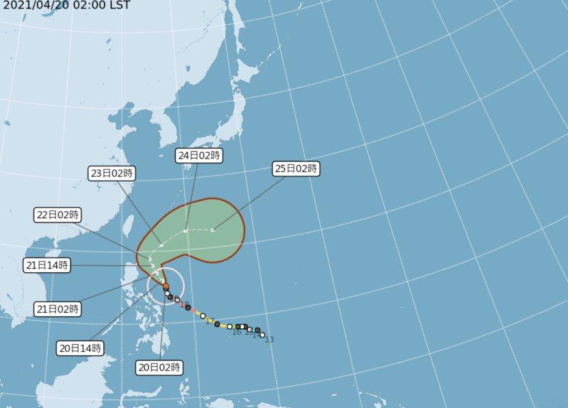 根據氣象局路徑潛勢預測圖」顯示,強颱「舒力基」沿太平洋高壓邊緣,在呂宋島東方海面向北北西前進;今稍減弱、但仍很強。圖/氣象局提供