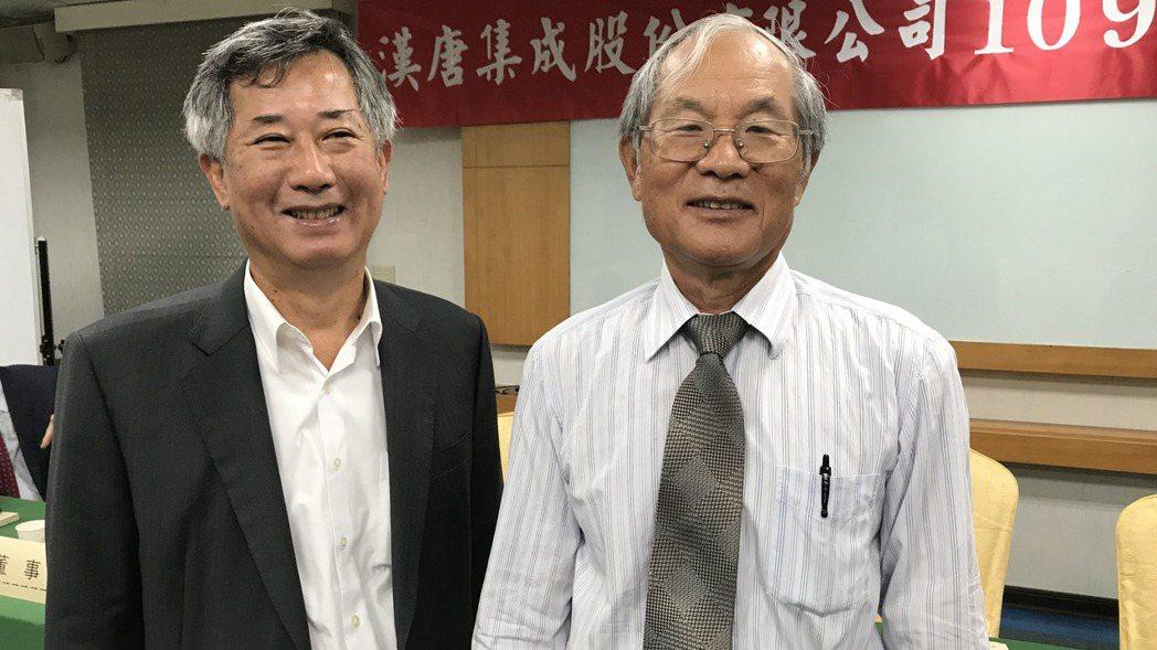 漢唐董事長陳朝水(右)、總經理陳柏辰(左),和已故前董事長王燕群,都是畢業於交大...