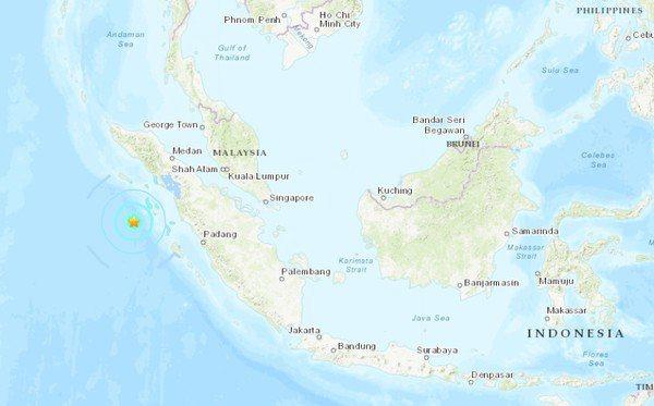 印尼外海發生規模6.0強震。截自USGS