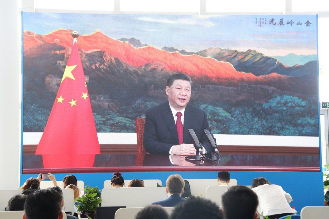 大陸國家主席習近平今以視訊方式出席博鰲亞洲論壇,並發表致詞。記者呂佳蓉/攝影