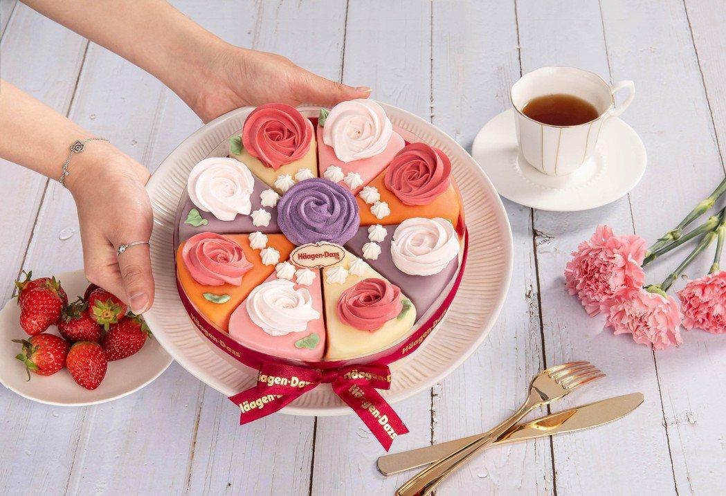「花開幸福」則以夏威夷果仁、草莓、香草等多種口味的冰淇淋所組成,7吋2,480元...