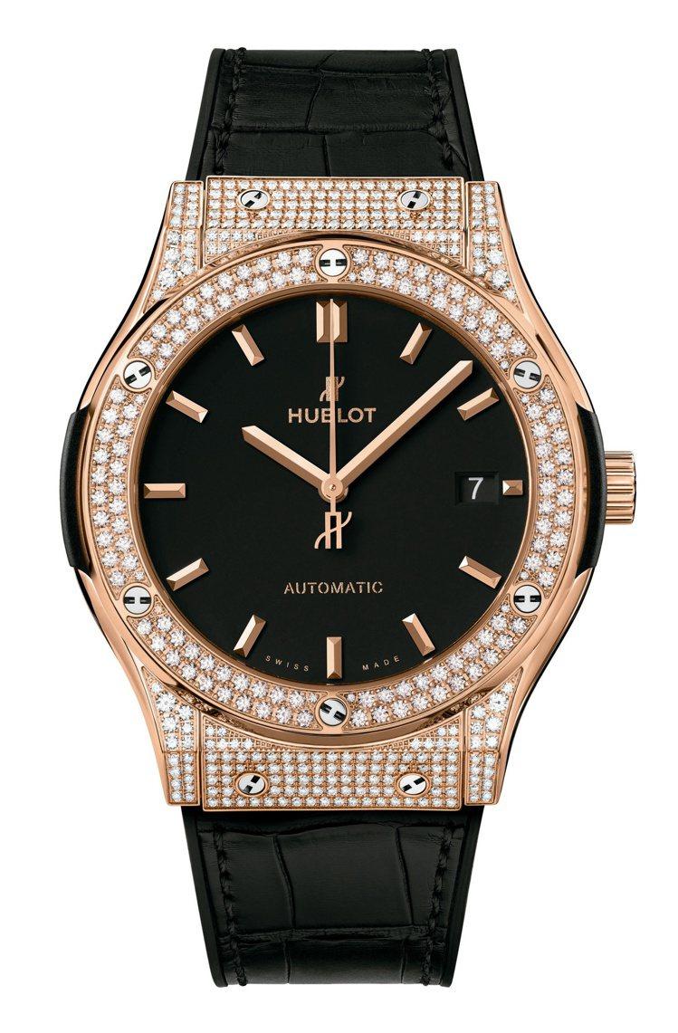 Hublot 經典融合系列皇金黑色鑽表,訂價約119萬1,000元。圖 / 宇舶...