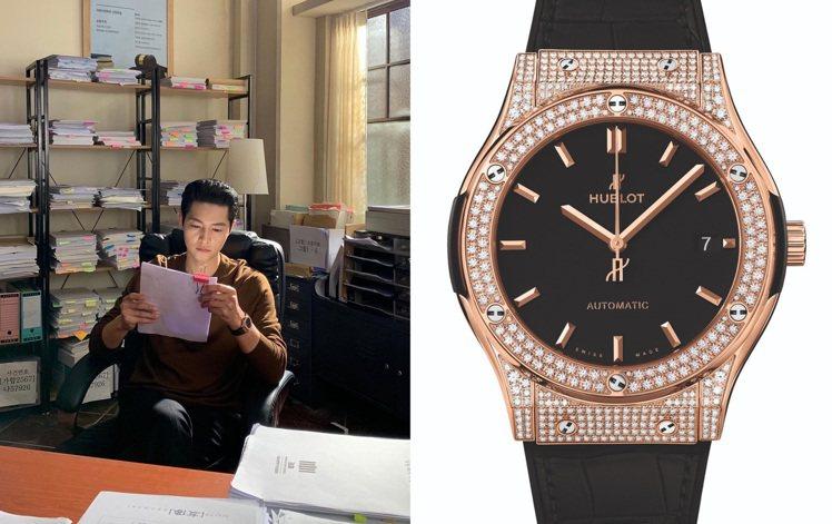 宋仲基二度配戴的Hublot經典融合系列皇金黑色鑽表,展現斯文紳士風範。圖 / ...