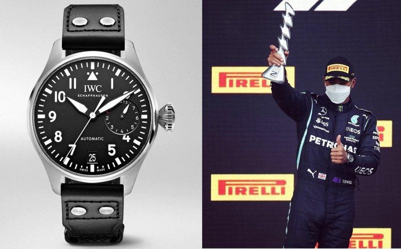 拿下Emilia Romagna分站第二名的Lewis Hamilton,配戴了「大飛46」腕表。圖/翻攝自ig(合成圖)