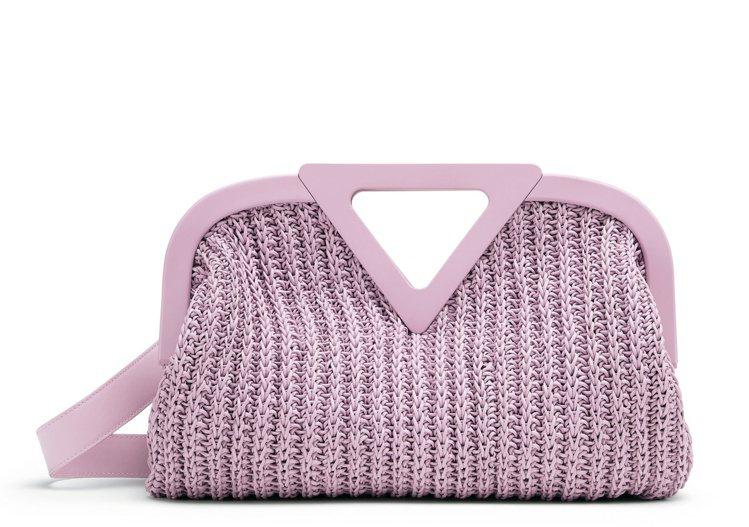 Point粉紫羊皮鉤針編織手提袋(M),25萬3,800元。圖/Bottega ...
