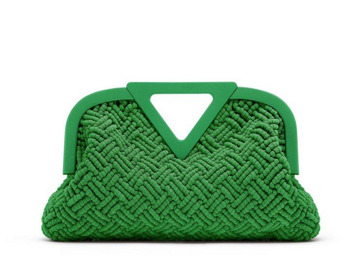 Point綠色法式繩結編織手提袋(M),22萬5,200元。圖/Bottega ...