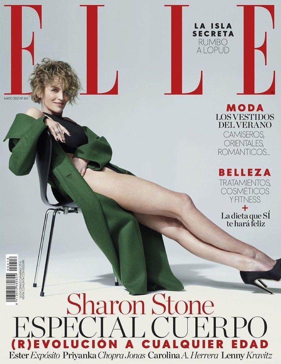 莎朗史東在最新封面展露大長腿。圖/摘自Instagram