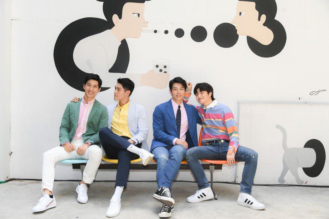 廖偉博(左起)李迪恩丶賴東賢和王碩翰合作BL劇「約定I DO」。圖/三立提供